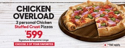 3 Stuffed Crust Non Veg Pizzas @549 (Save Upto 55%)