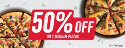 Get 50% OFF on Medium Pizzas. (Prices are after discount).