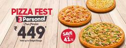 3 Personal Pan Pizzas Starting @449 (Save Upto 41%)