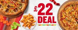 2 Large Pizzas & 1 Side for £22